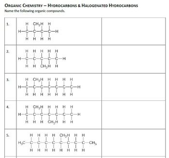 Naming Organic Compounds Worksheets Naming Organic Compounds
