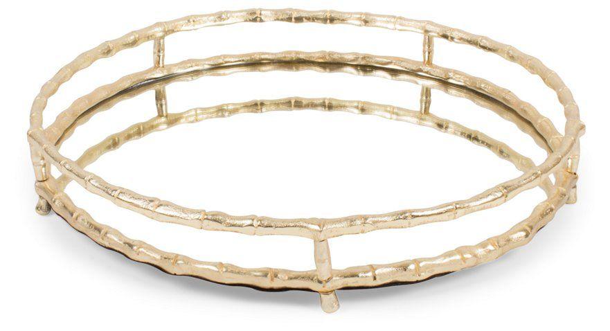 19 Bamboo Style Round Tray Mirror Gold 90 00 Round Tray Vanity Tray Tray Decor