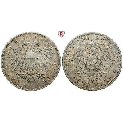 Deutsches Kaiserreich, Lübeck, 5 Mark 1908, A, ss+, J. 83: 5 Mark 1908 A. J. 83; sehr schön +, Rdf. 520,00€ #coins