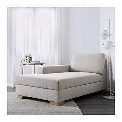 IKEA - SÖRVALLEN, Chaise longue, links/Tenö lichtgrijs, , Stevige, slijtvaste structuurstof, gekleurd garen in diverse tinten.Chaise longue met opbergruimte voor het opbergen van bedtextiel bijvoorbeeld.