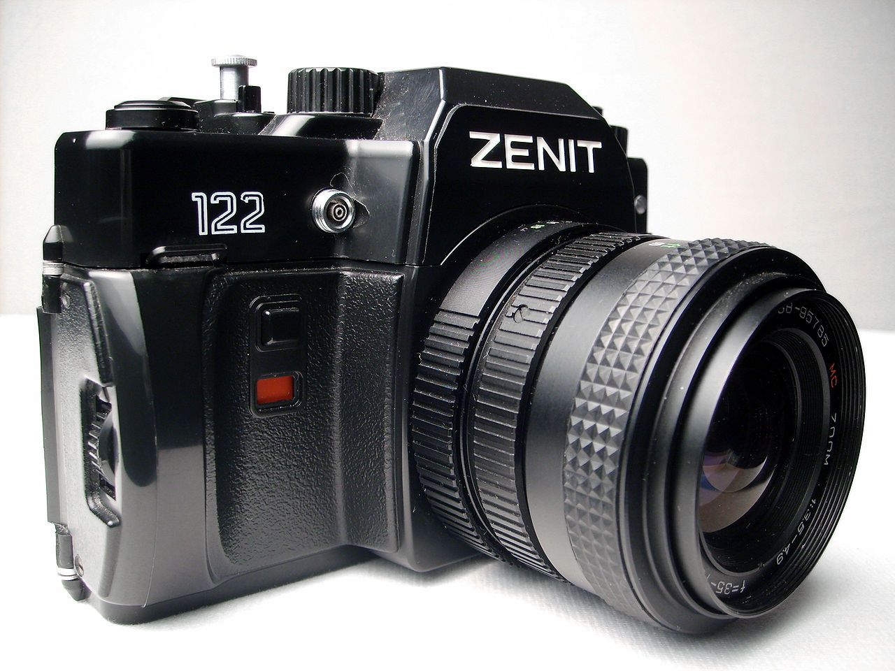 Zenit 122 camera - Zenit (camera). Bought it (new) from http://www.conrad.ch. Had this model (if I remember well...) The flash-socket has been sabotaged (it wobbled afterward!) with a screwdriver by an obviously fascistic guy who hated Russian products! (He worked for the Marlin Fotohaus) He left his job soon after! As I went back relatively short after, to complain, he was gone already! (I don't have it anymore)