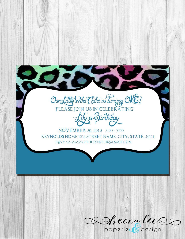 Birthday Party Invitation Wild Child - Animal Print Multi Color ...