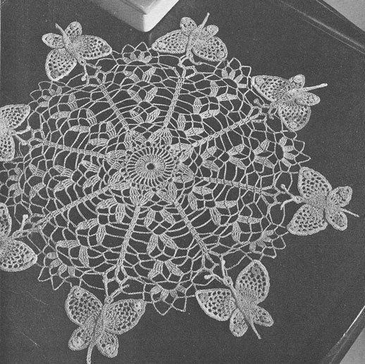 vintage+crochet+patterns+free | 1951 Butterfly Doily Vintage Crochet ...