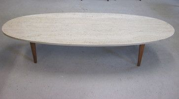 Mid Century Italian Travertine Marble And Teak Surfboard Shaped Coffee Table  Modern Coffee Tables