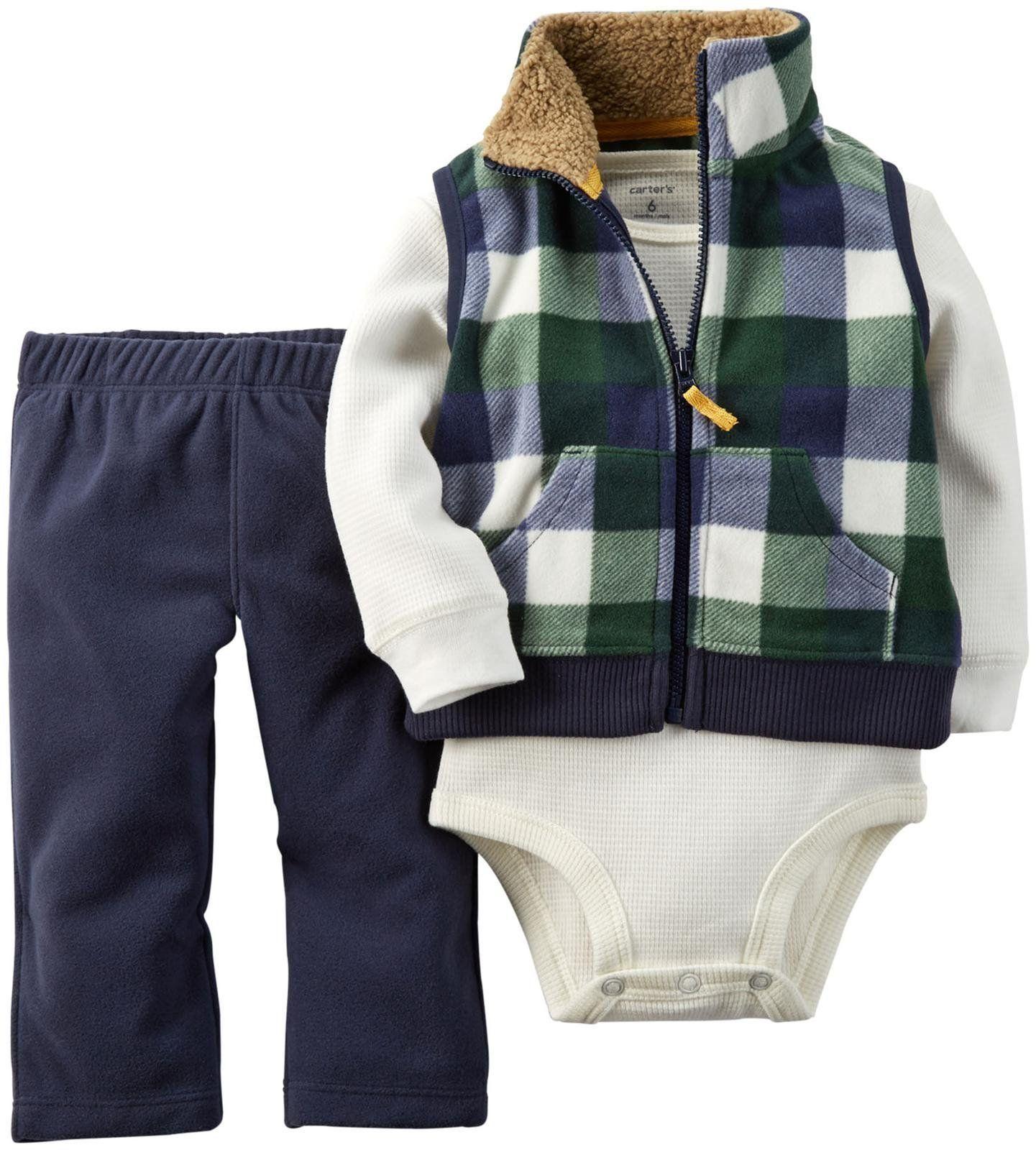Carter s Baby Boys 3 Piece Micro Vest Set Baby Blue 3 Months