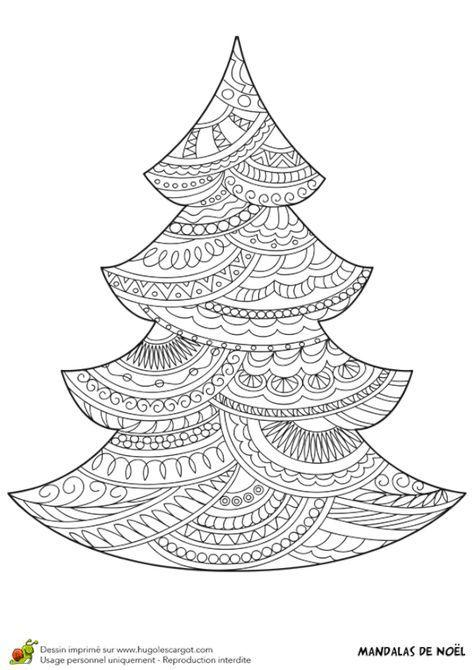 Coloriage d\'un mandala sapin de Noël | Noël | Pinterest