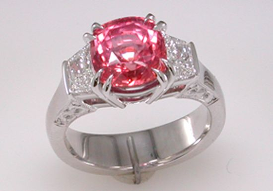 Padparadscha and Diamond Ring