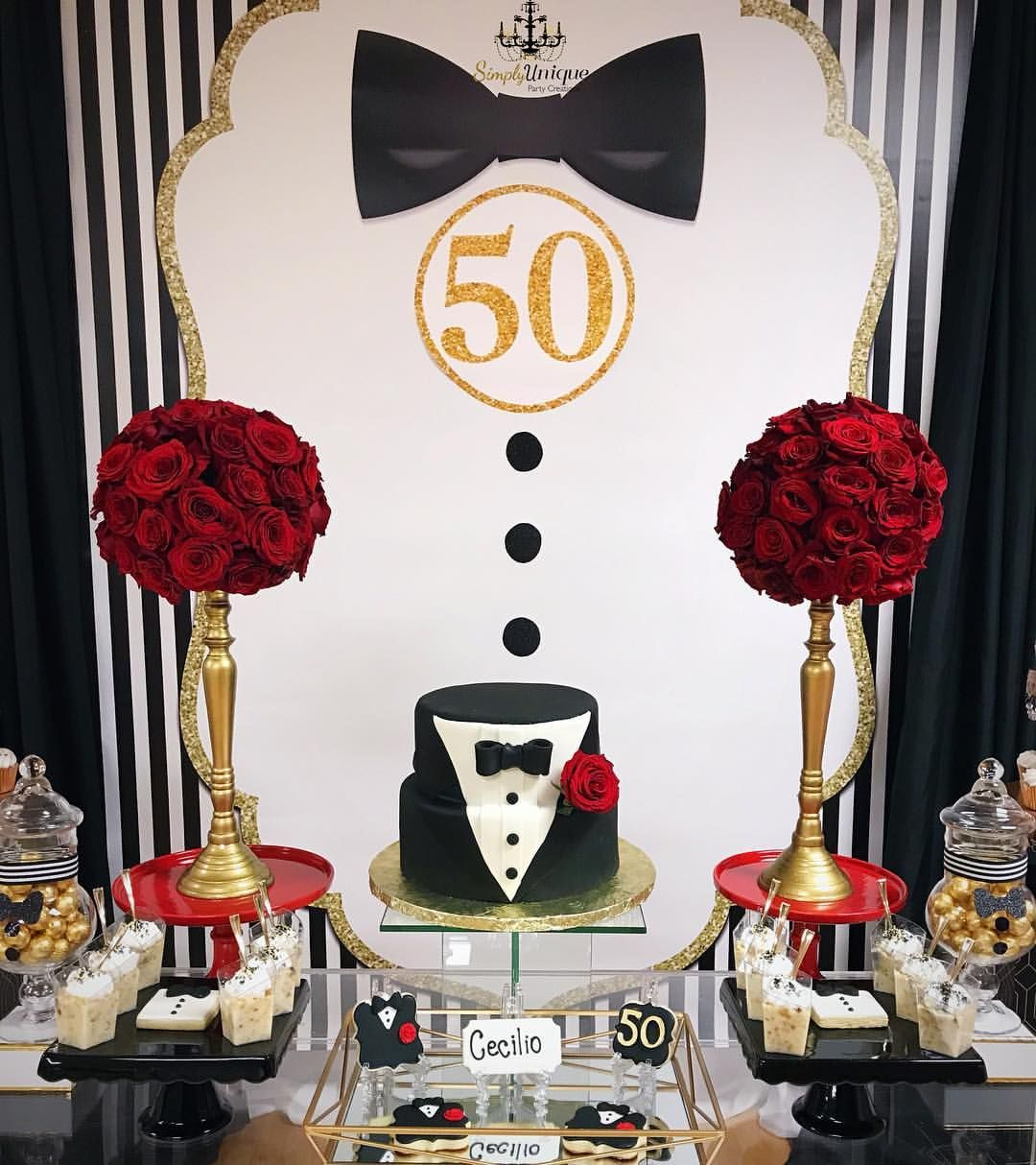 Gentleman Themed 50th Birthday Decorated By Us S 60th Birthday Party Decorations 40th Birthday Party Decorations 50th Birthday Party Ideas For Men