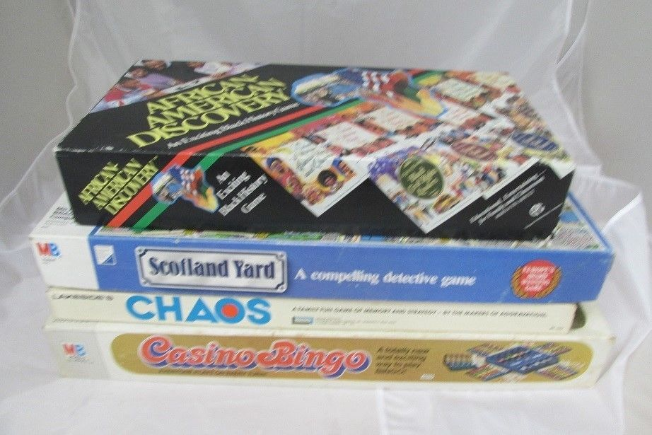 Board Game Lot 4 Vintage, African American Discovery, Scotland Yard, Chaos  #Mixed
