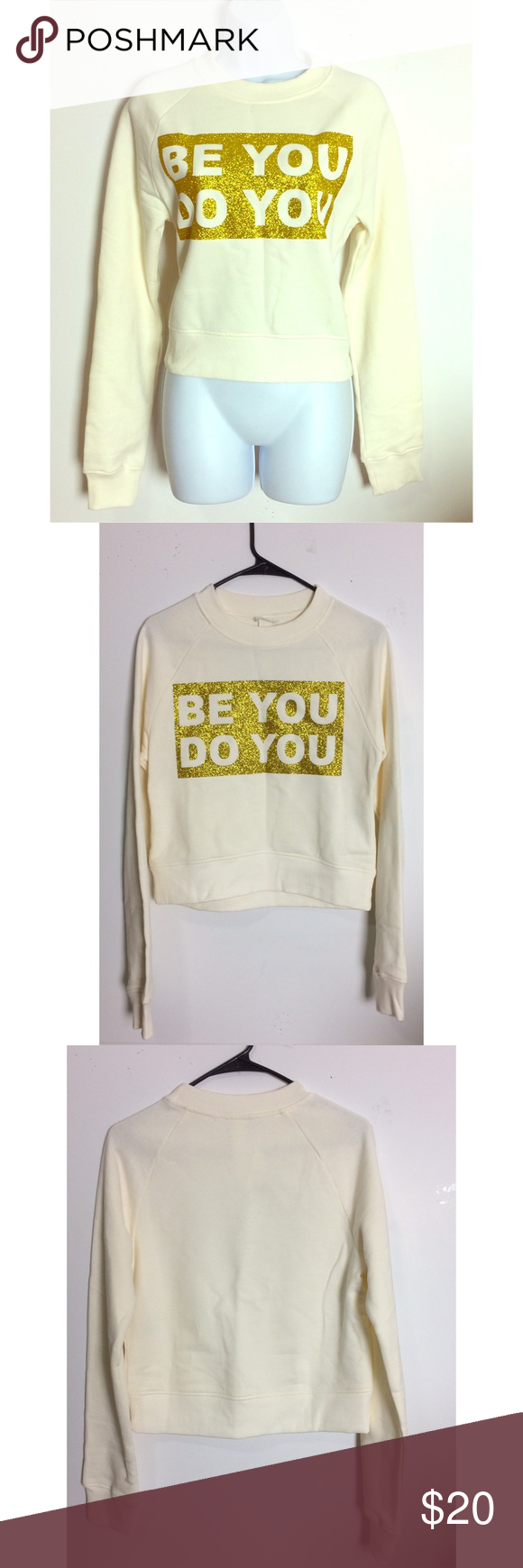 Be You Do You Cream & Gold Glitter Crewneck Love this comfy sweatshirt super cute, stylish and trendy! NWT! PRICE IS NOT FIRM OFFERS ACCEPTED UPON REQUEST...😊 Measurements: Armpit to Armpit: 18.5 Length:21 This listing is BRAND NEW WITH TAGS! Material: 100% Cotton H&M Tops Sweatshirts & Hoodies