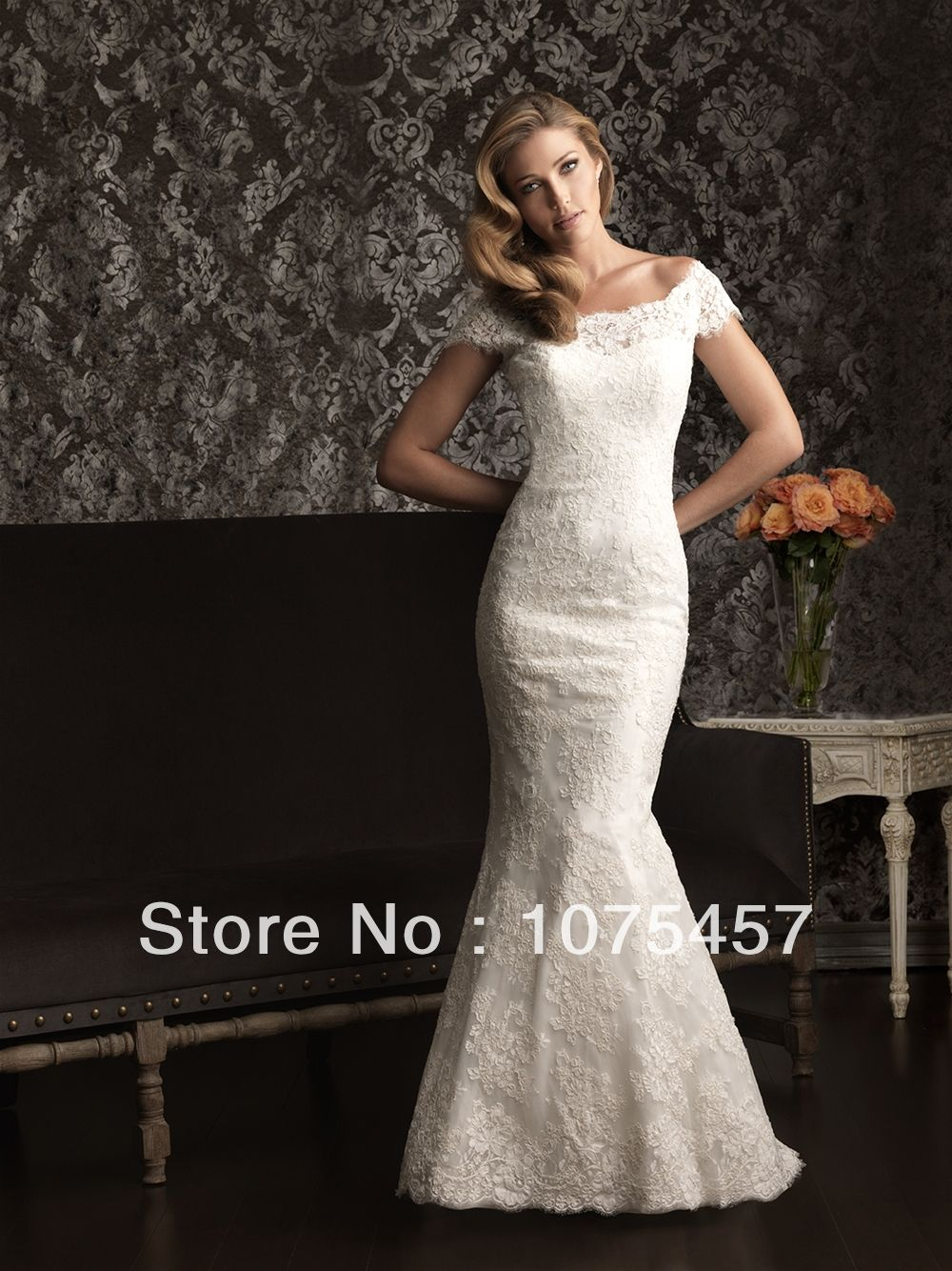Custom mermaid lace wedding dresses with sleeve high collar pleat