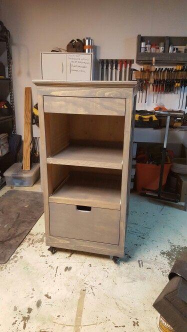 Craft station w/sliding shelves