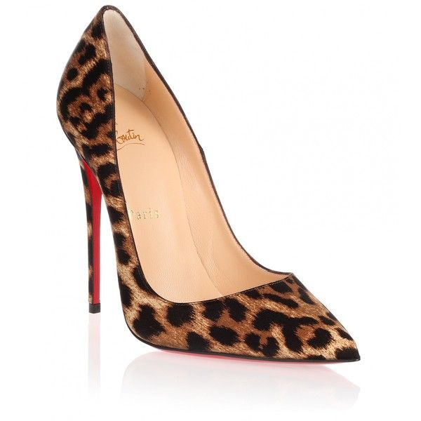 5cb7509e94ea Christian Louboutin So Kate 120 satin leopard pump ( 695) ❤ liked on  Polyvore featuring shoes