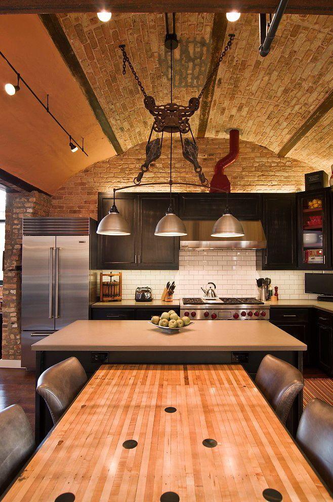 Bowling Ally Table Houzz Besch Design Chicago Loft 2