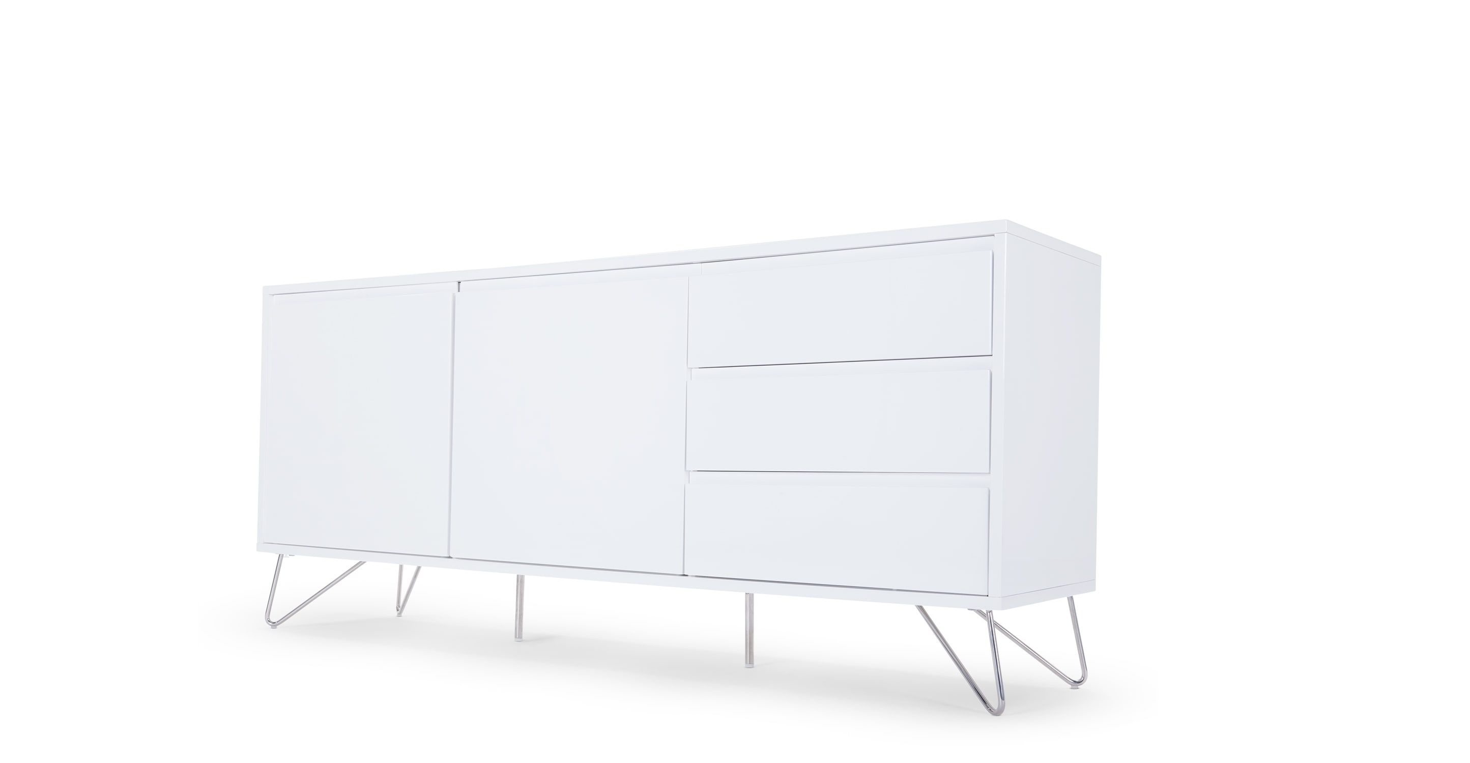 Elona Buffet Blanc Brillant In 2020 White Sideboard White Furniture Contemporary White Sideboard