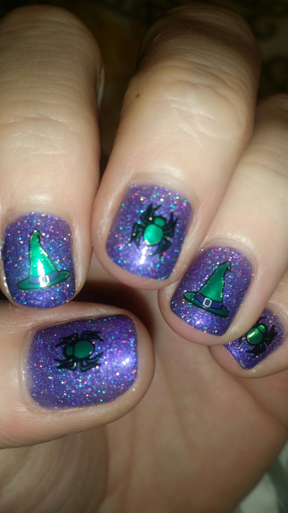 Happy Halloween! Purple holo with green metallic witches ...