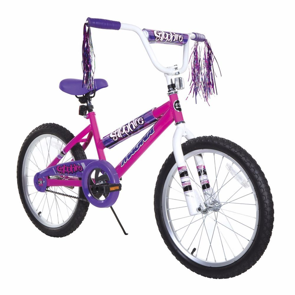 Bikes For Girls 20 Inch Pink Purple Steel Frame Training Wheels Adjustable Seat Kids Bike Kids Bike Sizes Magna Bike