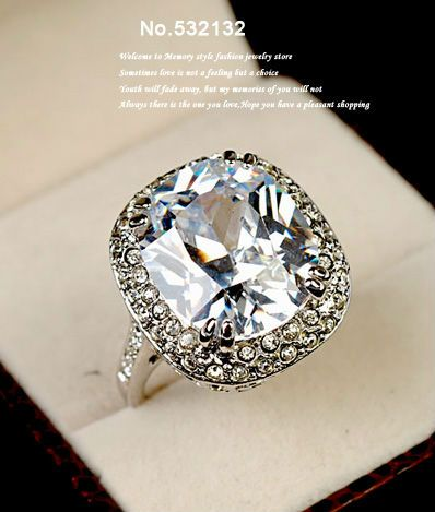 Super Big 6 Carat Sparkling Simulated Diamond Statement Ring Platinum Plated Cubic Zirconia For Halloween Party L Square Cz Statement Rings Diamond Stone Rings