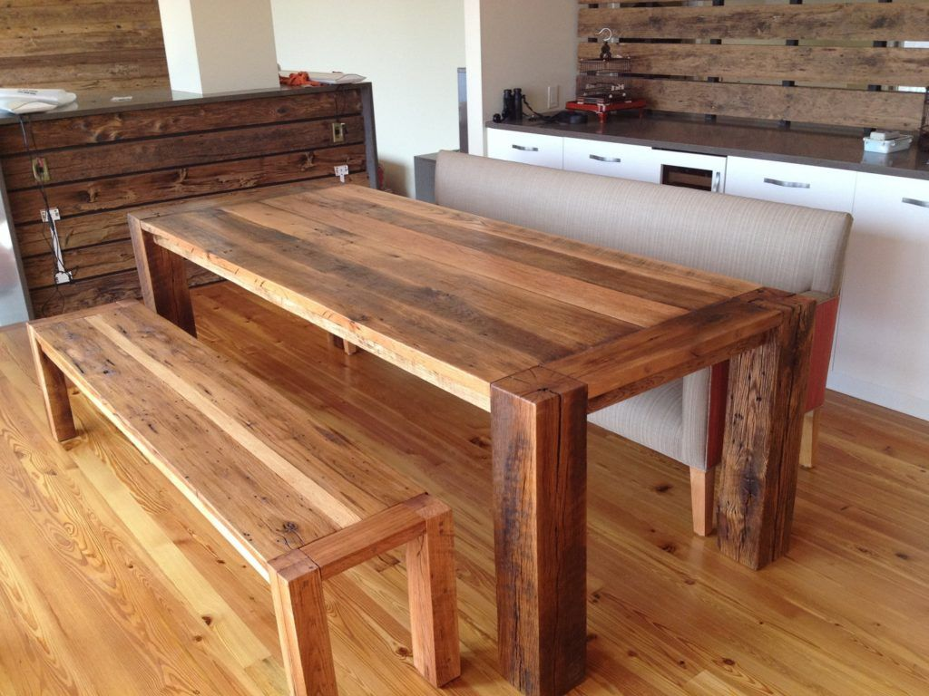 Reclaimed kitchen table  Reclaimed Wood Kitchen Table With Bench