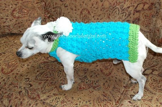 Instant Download Crochet Pattern - Cluster Stitch Dog Sweater - Small Dog Crochet Sweater #dogcrochetedsweaters