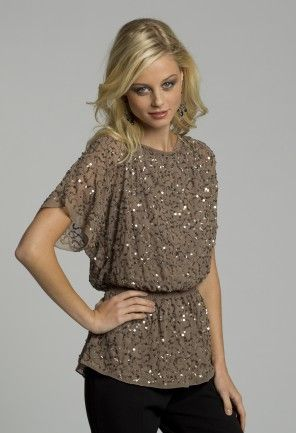 ca2fc9af1af Dressy Tops - Short Sleeve Beaded Top from Camille La Vie and Group ...