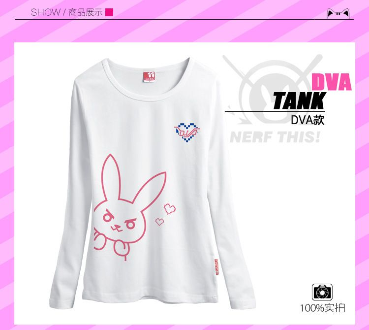 Free shipping   LOVELY rabbit tee shirt Game Character OW D.VA  t shirt   for Summer