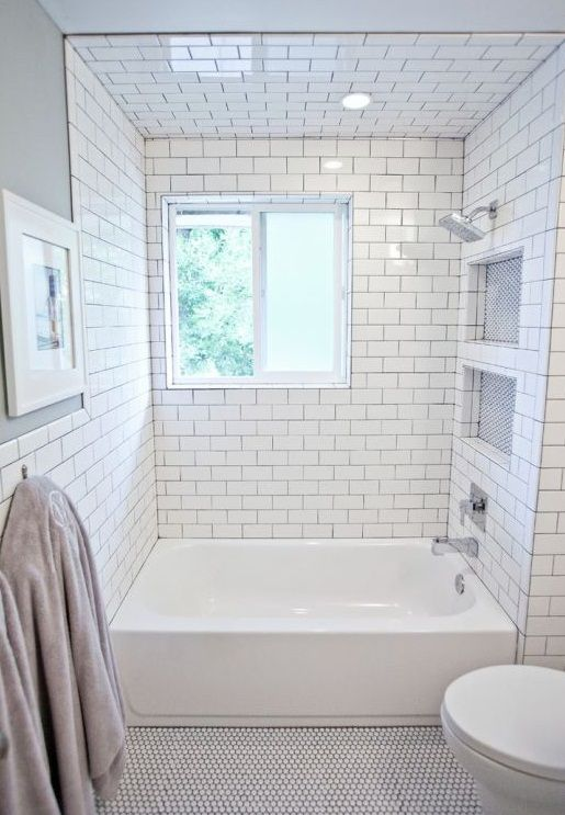 Small bathroom remodel subway tile floor tiles black and white ...