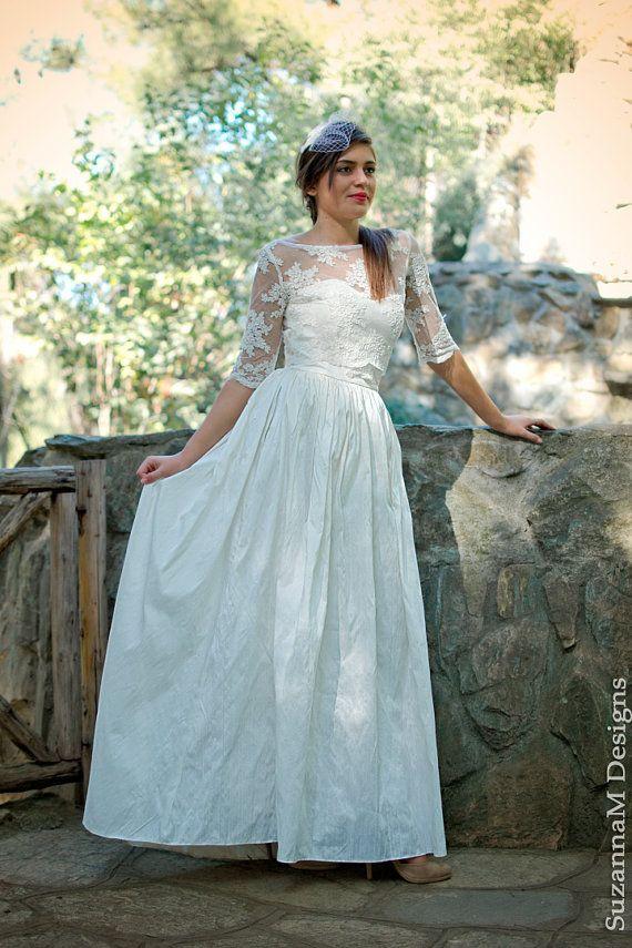 Silk Dupioni Long Dress Boho Ivory Wedding Dress Princess Wedding Dress Romantic Long Bridal Gown  Handmade Vintage Gown by SuzannaM Designs