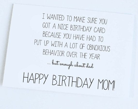 Mother Birthday Mom Funny Card Silly Joke 450 Click Here To Purchase