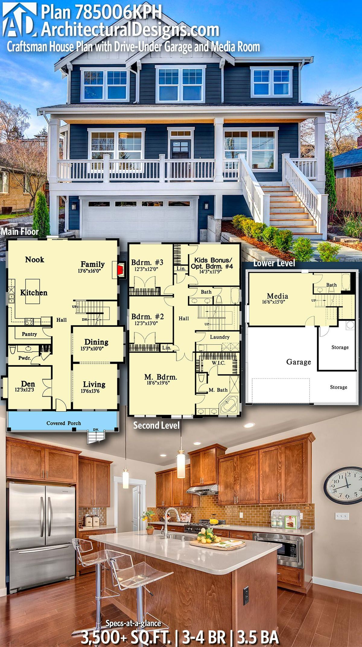 Plan 785006kph Craftsman House Plan With Drive Under Garage And Media Room In 2020 Craftsman House Plan Craftsman House Sims House Plans
