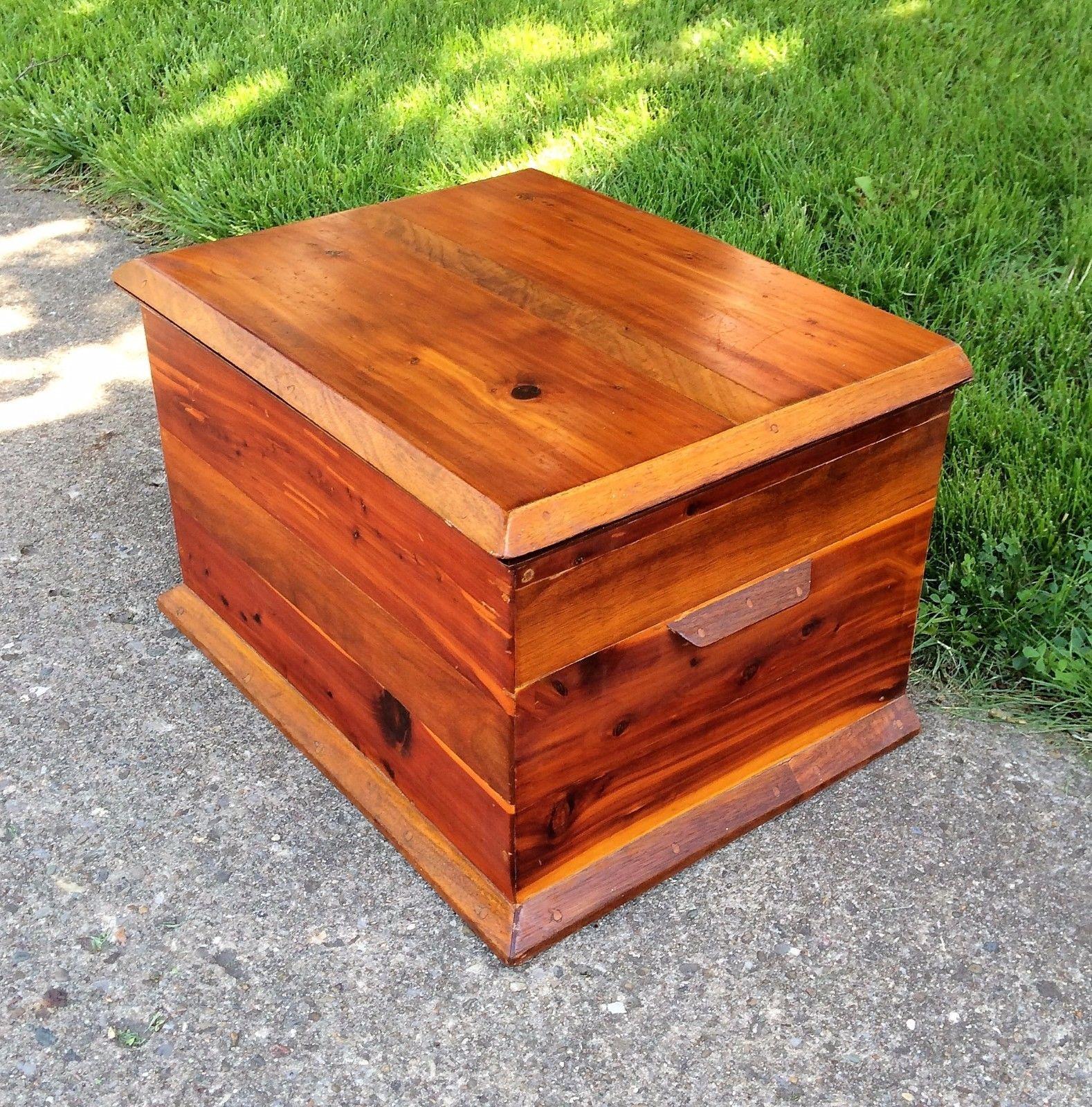 Antique small cedar wood hope chest blanket storage trunk coffee