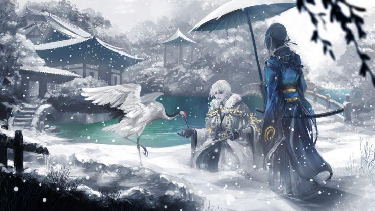 touken ranbu tsurumaru mikazuki iceanimal anime fantasy snow