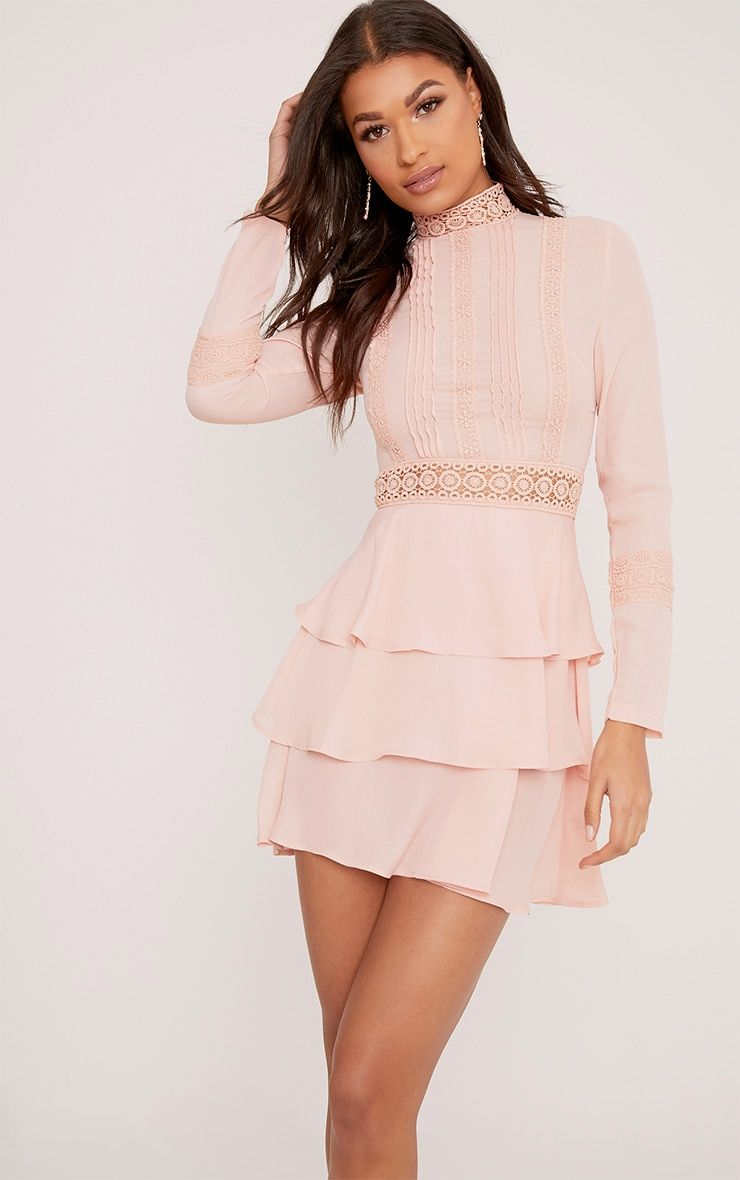 Hope Dusty Pink Crochet Lace High Neck Ruffle Swing Dress Dresses Pretty Dresses Stunning Dresses
