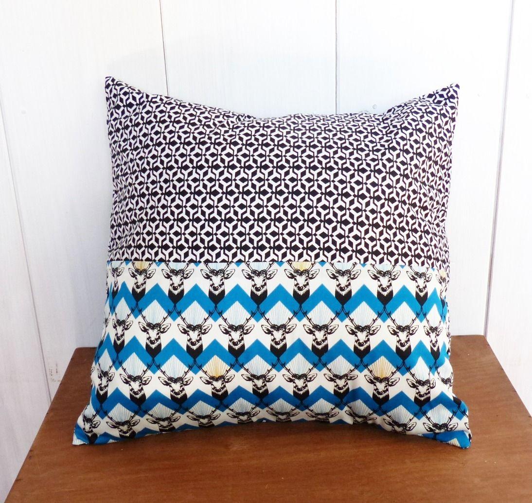 housse de coussin 40 x 40 cm patchwork tissus g om triques. Black Bedroom Furniture Sets. Home Design Ideas
