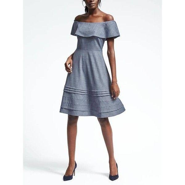 Banana Republic Womens Chambray Off Shoulder Dress ($128) ❤ liked ...