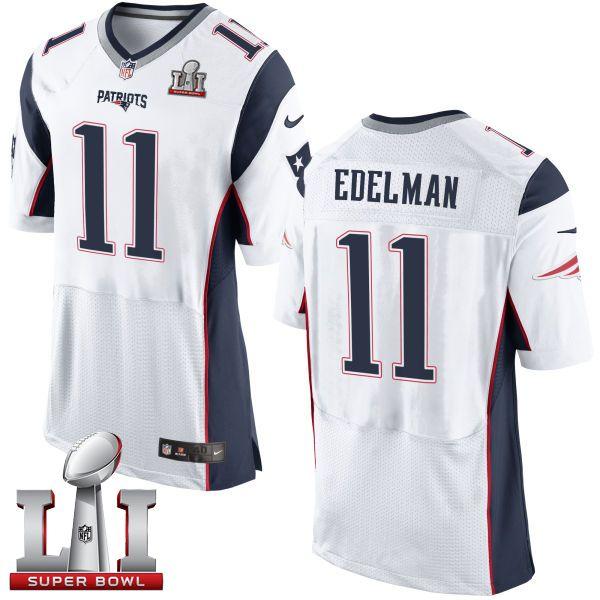 237934114 Nike Patriots  11 Julian Edelman White Super Bowl LI 51 Men s Stitched NFL  New Elite Jersey And J.J. Watt jersey