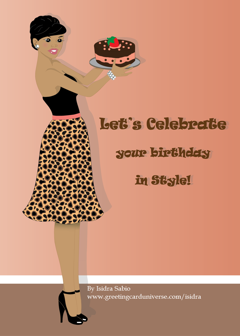 BirthdayWoman in leopard print skirt and carrying a cake card – Leopard Print Birthday Card