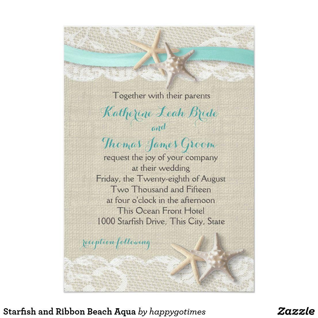 Starfish and Ribbon Beach Aqua | Destination Weddings | Pinterest ...
