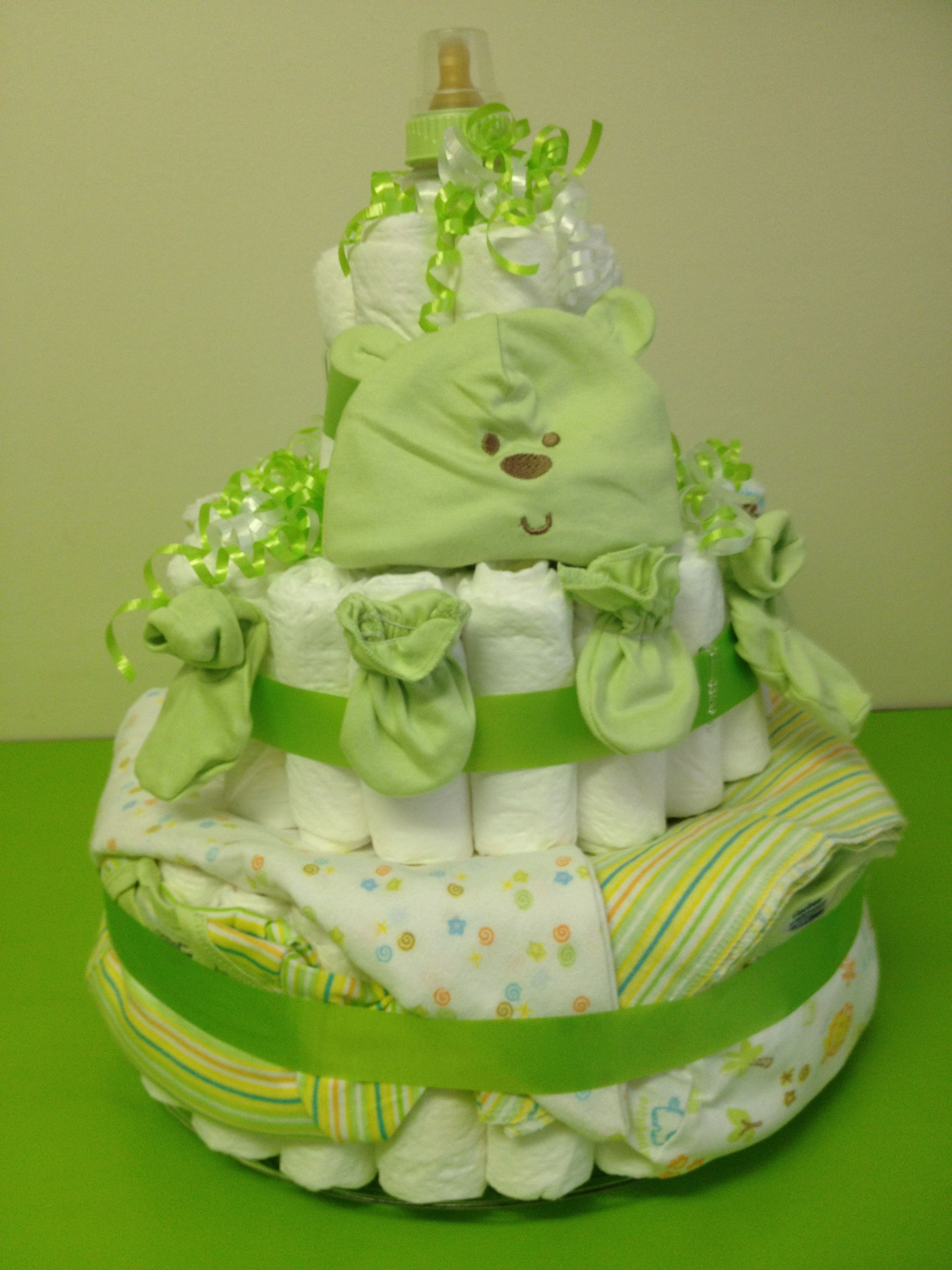 Large Baby Bottle Decoration Large Green Gerber Diaper Cake From Shergifts $12500 3 Tier