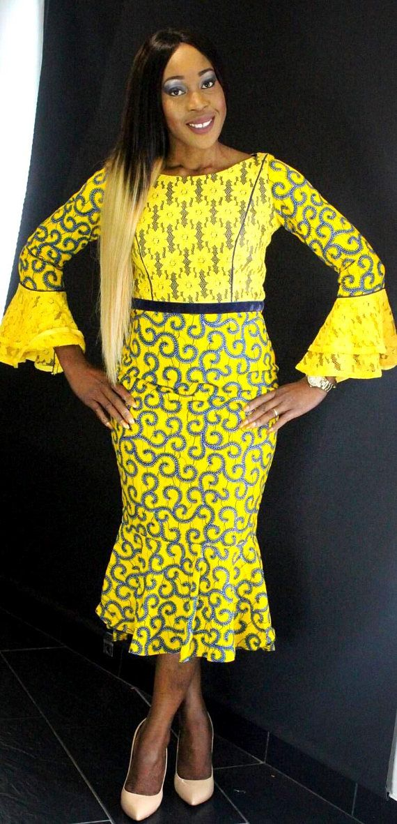 0a66d19cb15 African Print Ankara Lace Dress with long Bell Sleeves.