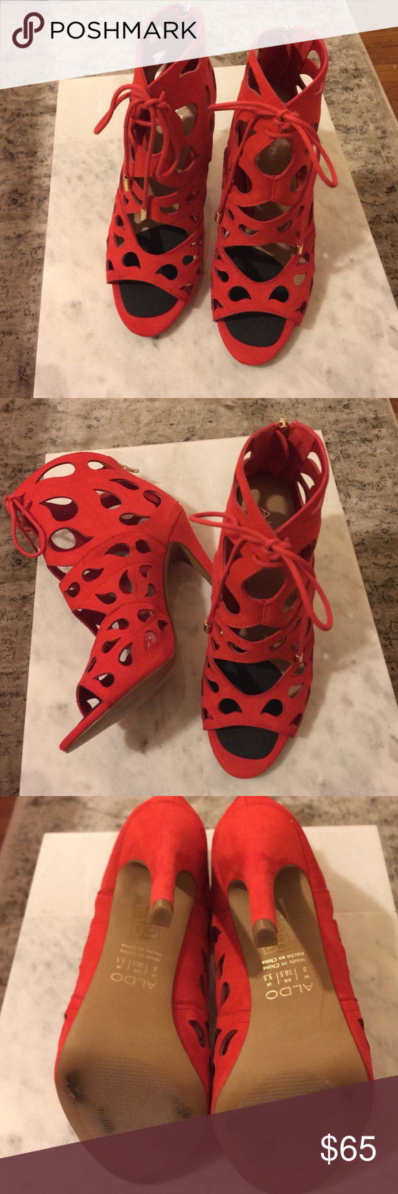 Aldo Lace Up Bootie Lace Up Cut Out Aldo heels. Leather and I added the foot cushion. Great condition. Tried to wear out once , but didn't get the right size for me. ALDO Shoes Ankle Boots & Booties