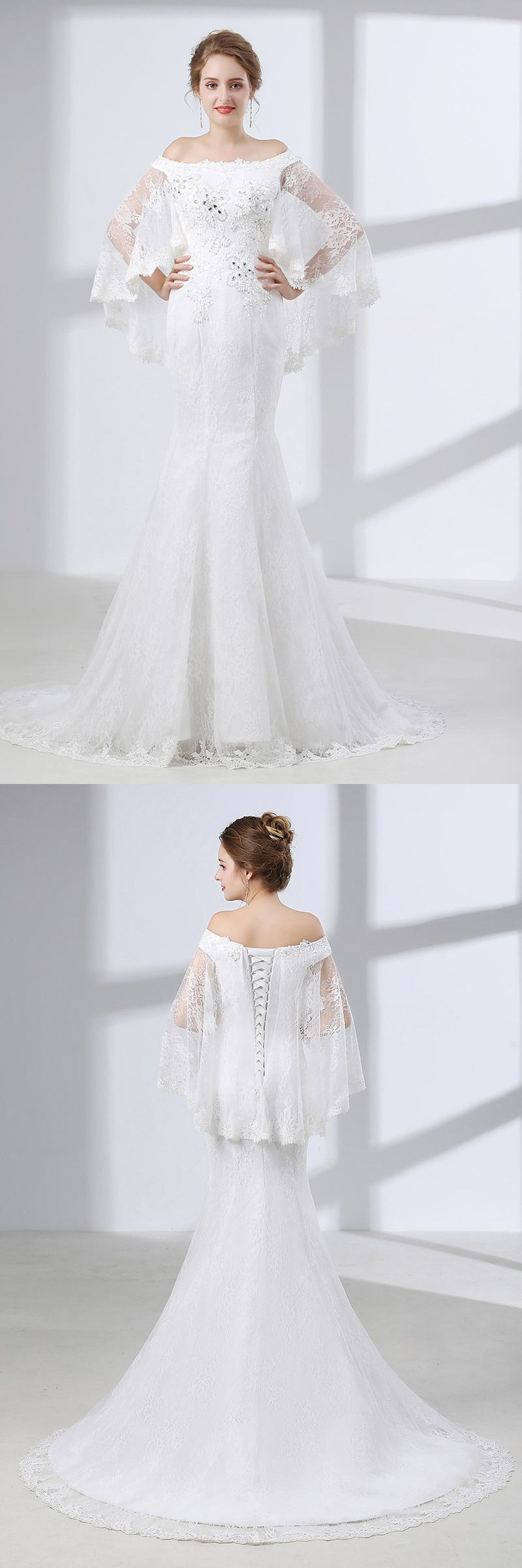 Off shoulder petite trumpet wedding dress all lace with cape ch