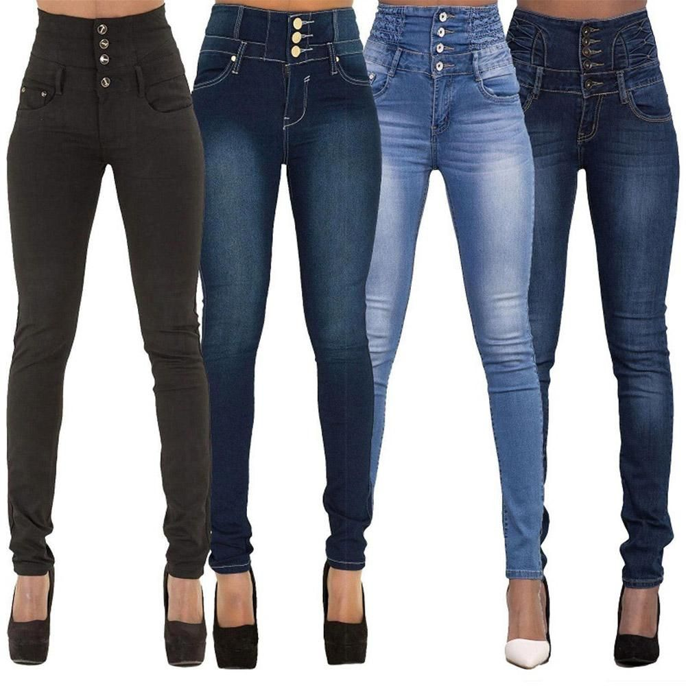 High waist pencil pants stretch jeans with multiple