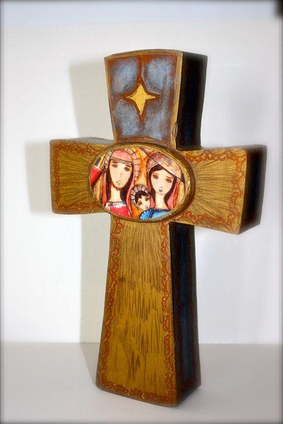 Sale 30 off entire Shop  Nativity III   Wall Cross by FlorLarios, $45.00
