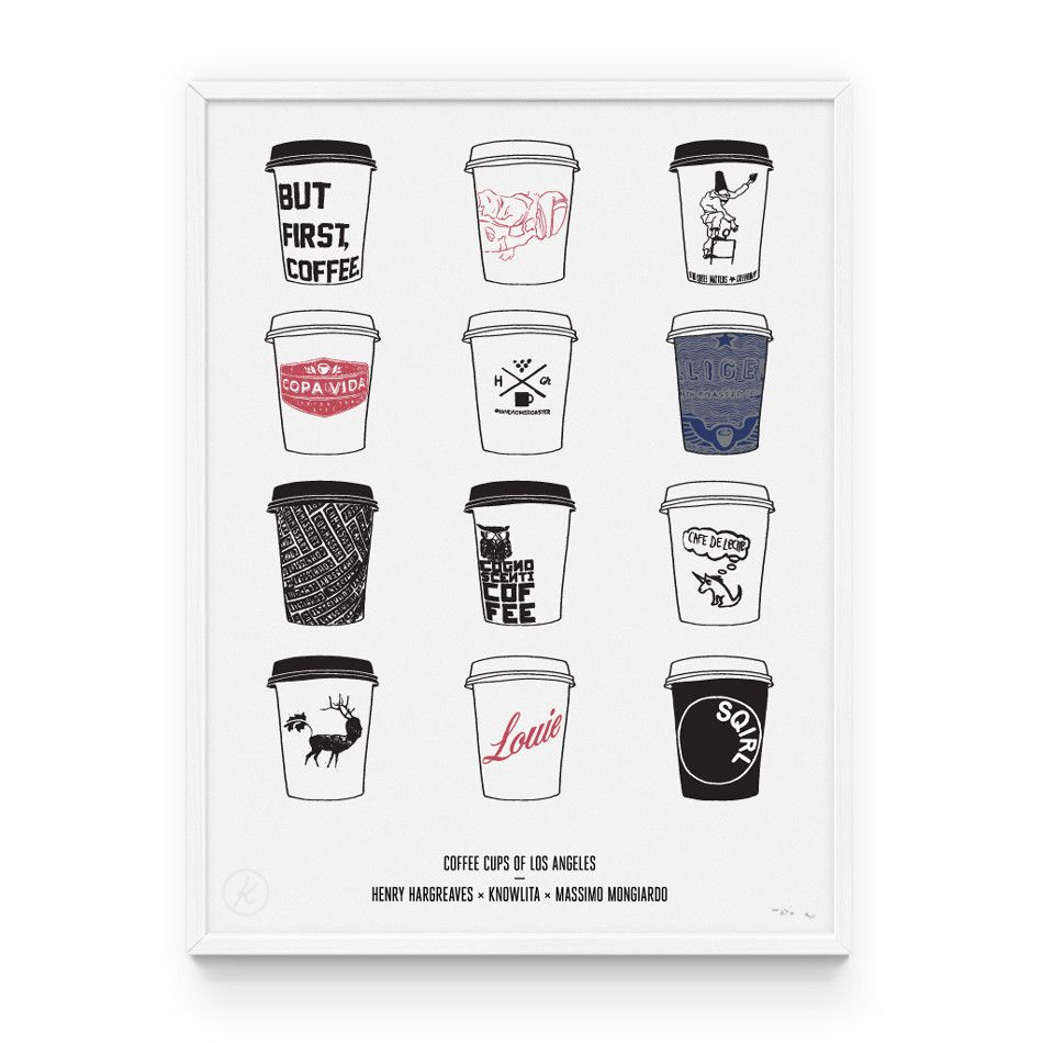 Coffee Cups Of Los Angeles Coffee Cups Cup Los Angeles Print