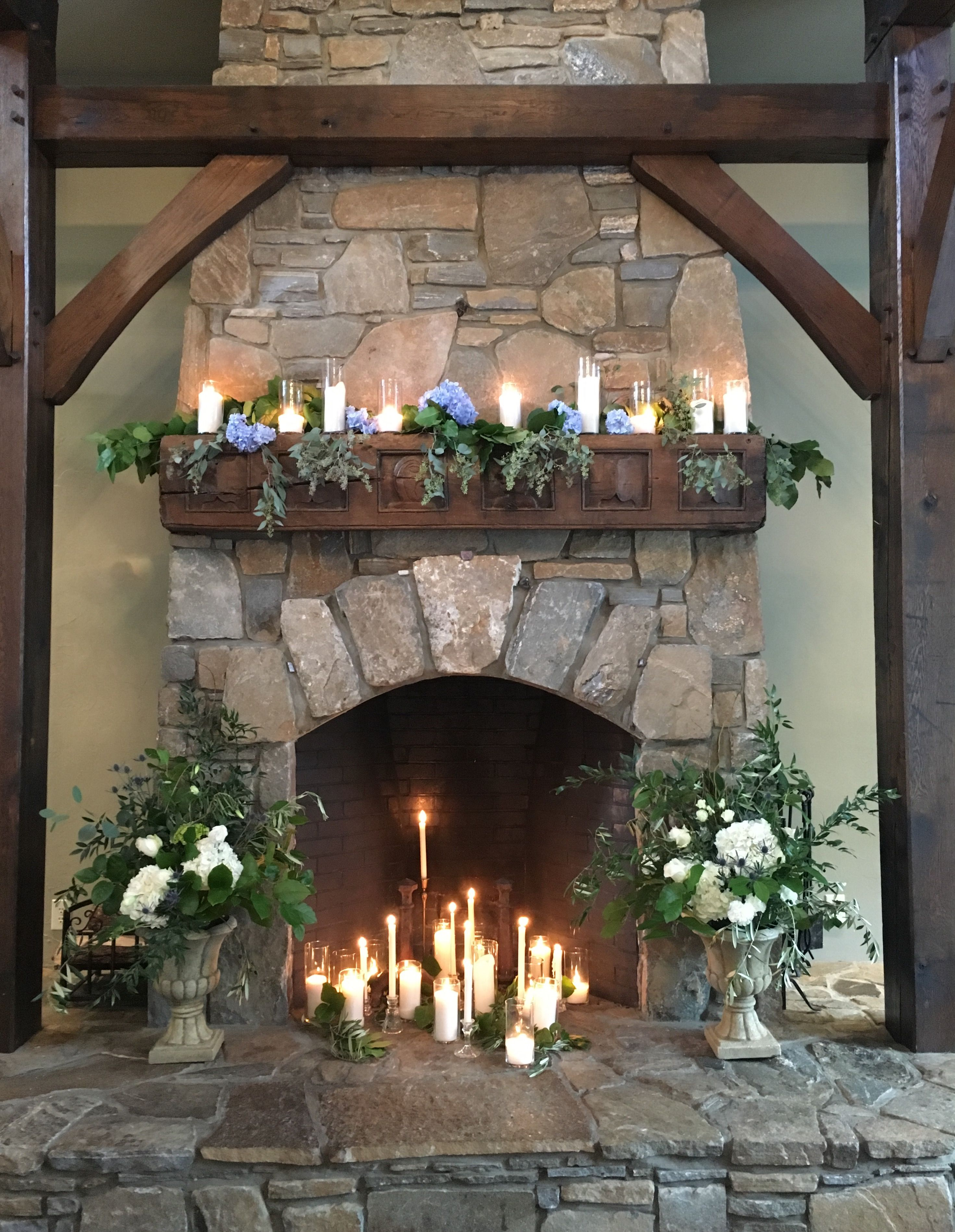 Ceremony fireplace inspo but with my colors and floral choices