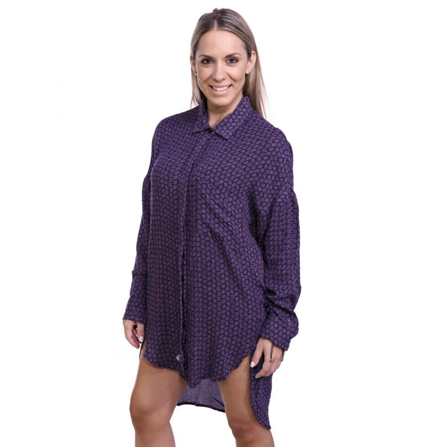 ALE by Attrattivo Γυναικεία μακρυμάνικη ασύμμετρη πουκαμίσα ... 53b56297d6c