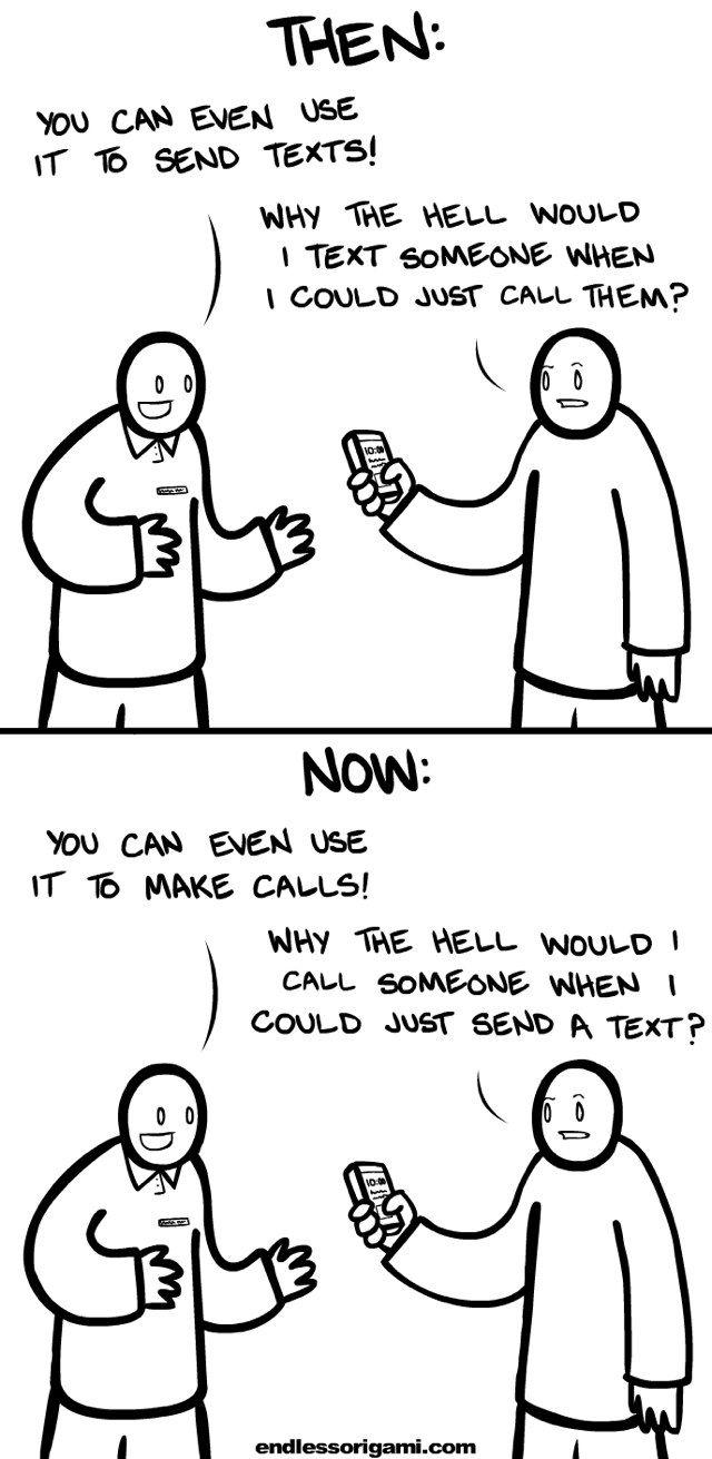 Text messaging vs calling
