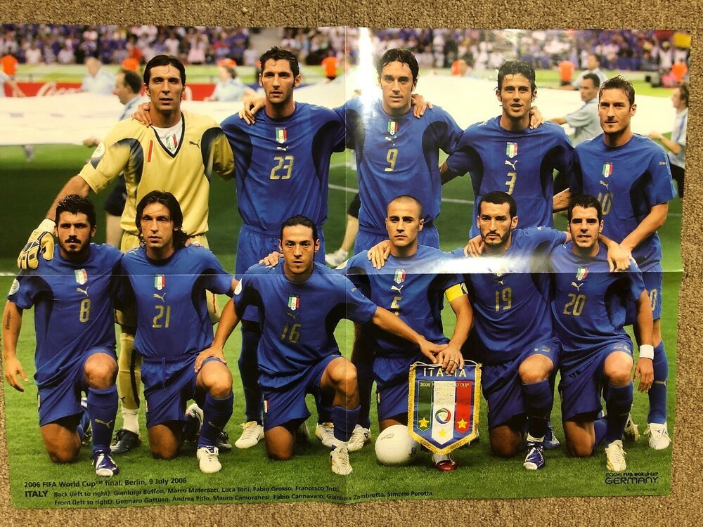 Italy National Team Photo Poster 2006 Fifa World Cup Final Germany 23x16 Ebay