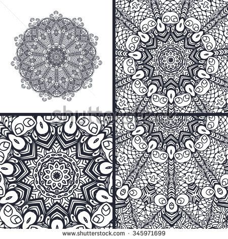 Set of coloring book pages. Mandala. Decorative vector element. Hand drawn texture for relax, meditation.